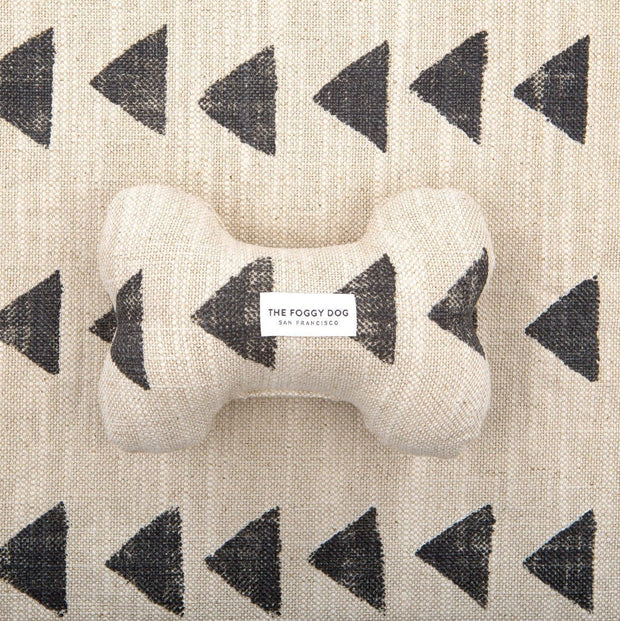 Eco-Friendly Squeaker Dog Toy in Beige Sand Triangle Print
