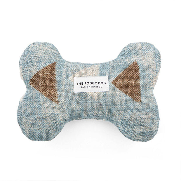 Eco-Friendly Squeaker Dog Toy in French Country Blue Triangle Print