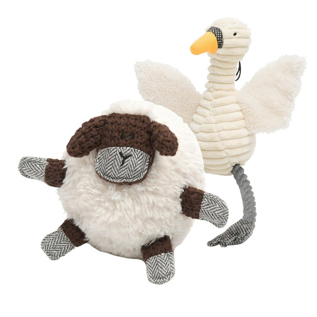 Squeaky and Crinkly Swan and Sheep Fluffy Toy Bundle