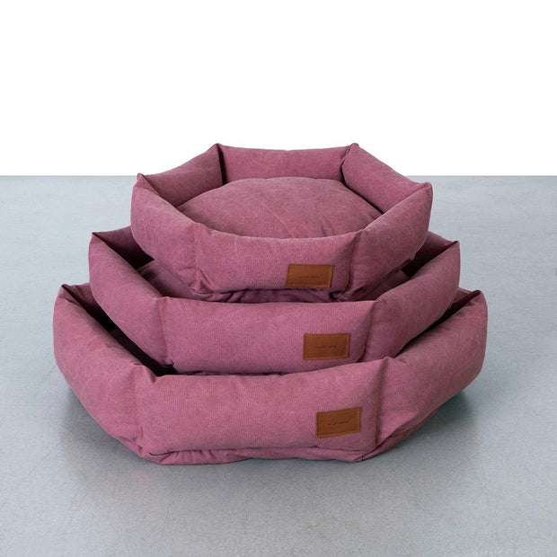 Hexagon Dog Bed in Berry - This Dog's Life