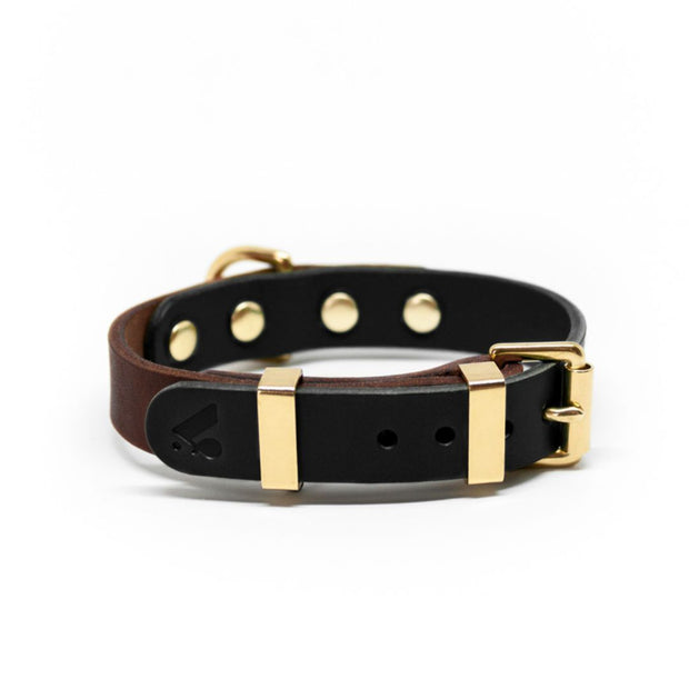 Two-Tone Leather Collar in Navy and Nude - This Dog's Life