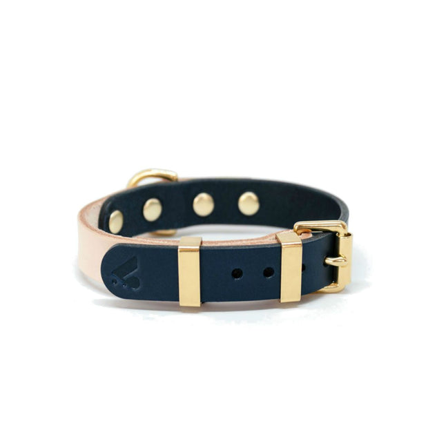 Two-Tone Leather Collar in Black and Nude - This Dog's Life
