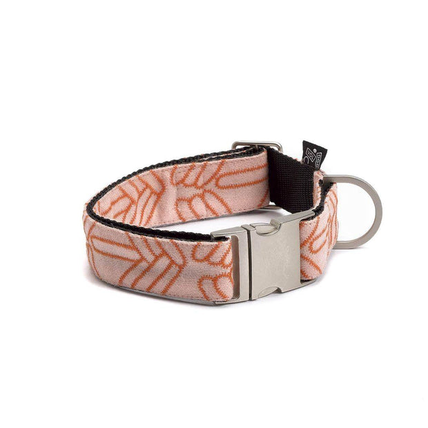 Adjustable Wool Blend Dog Collar in Coral Pink Pattern - This Dog's Life