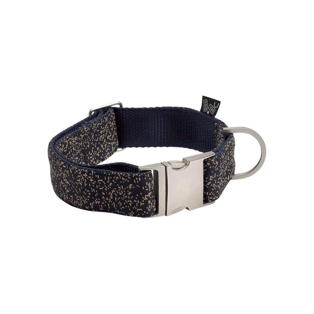 Adjustable Dog Collar in Indigo Blue Dotted Pattern - This Dog's Life