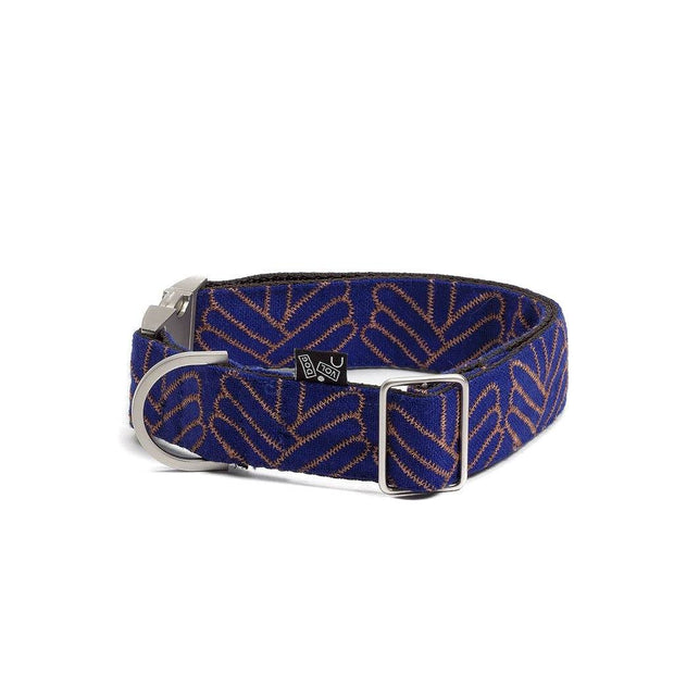 Adjustable Wool Blend Dog Collar in Royal Blue Pattern - This Dog's Life