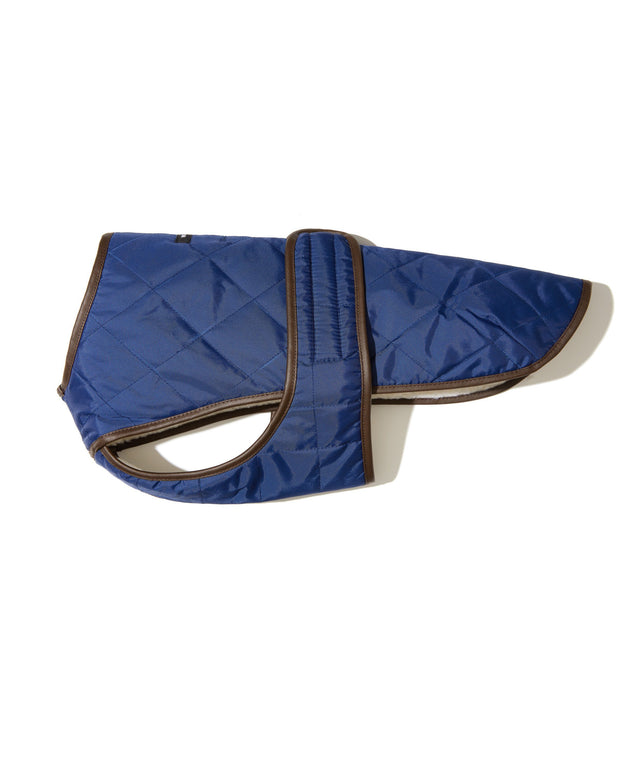 Quilted Water-Resistant Vest with Berber Fleece in Navy Blue