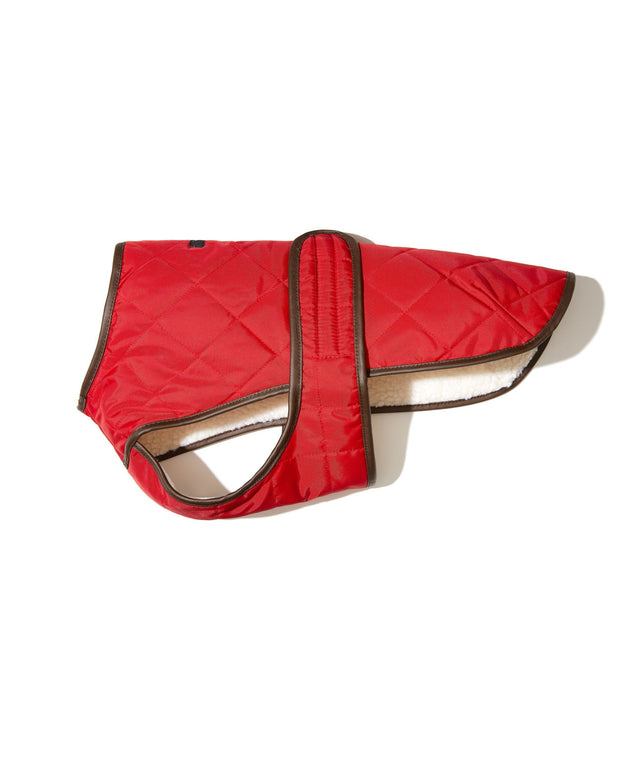 Quilted Water-Resistant Vest with Berber Fleece in Cherry Red