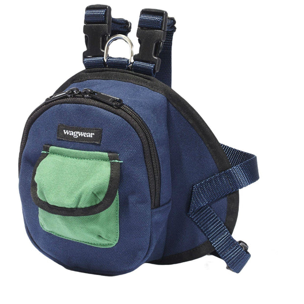 Canvas Mini Dog Backpack in Navy and Green - This Dog's Life