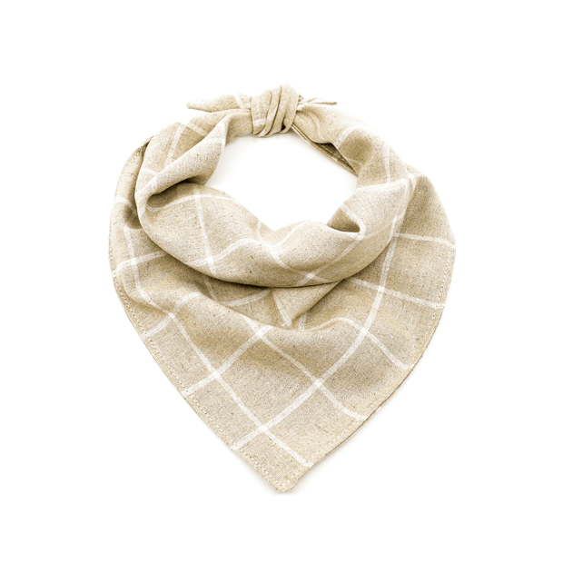 Linen dog bandana in beige plaid