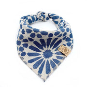 Stonewashed Linen Bandana With Indigo Blue Flower Print - This Dog's Life