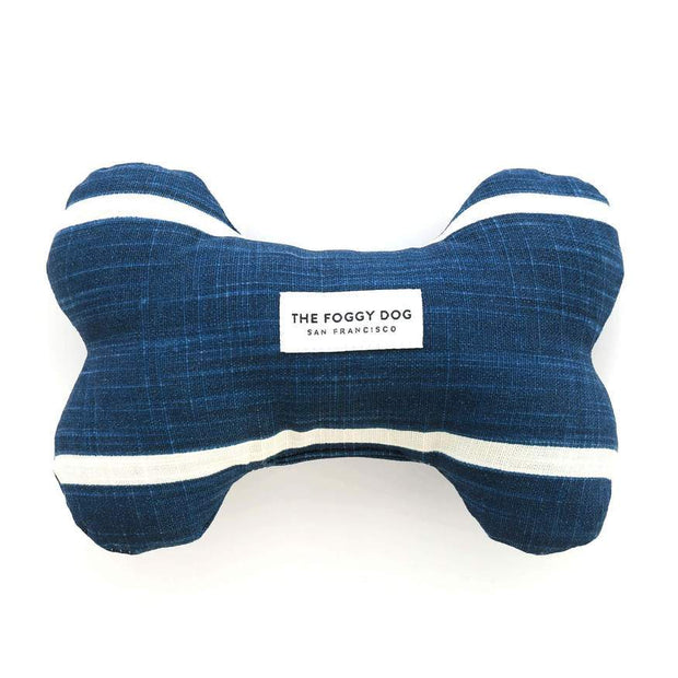 Eco-Friendly Squeaker Dog Toy in Indigo Blue and White Stripe