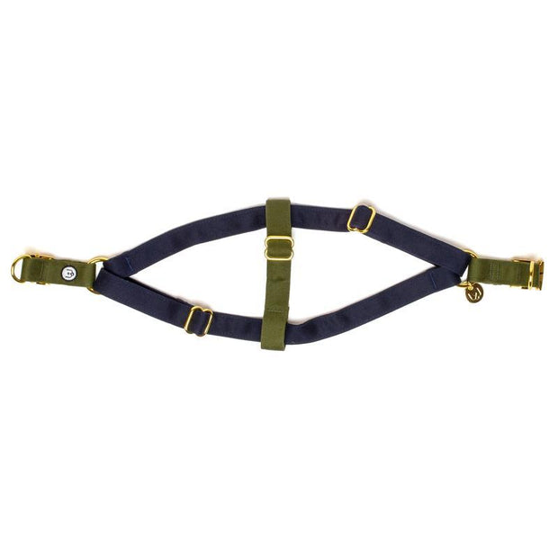 Two-Tone Canvas Easy Step-In Harness in Navy Blue and Natural Beige - This Dog's Life