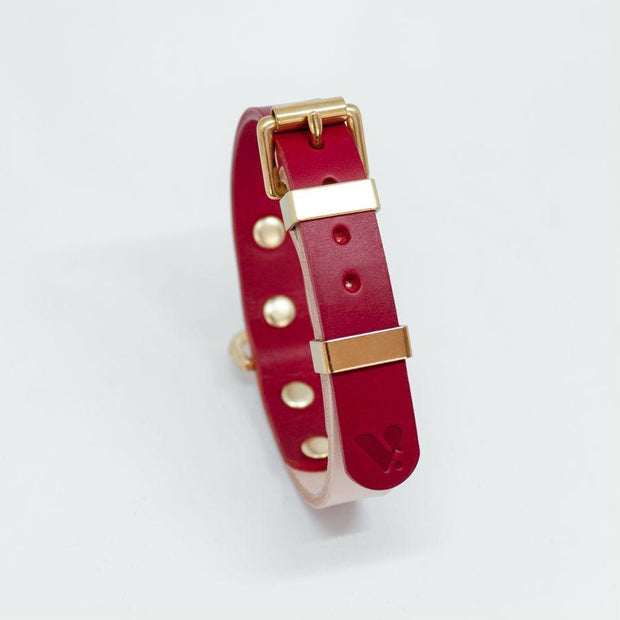 Two-Tone Leather Collar in Red and Nude - This Dog's Life