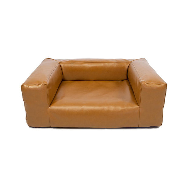 Vegan Pleather Dog Bed in Tobacco Brown - This Dog's Life