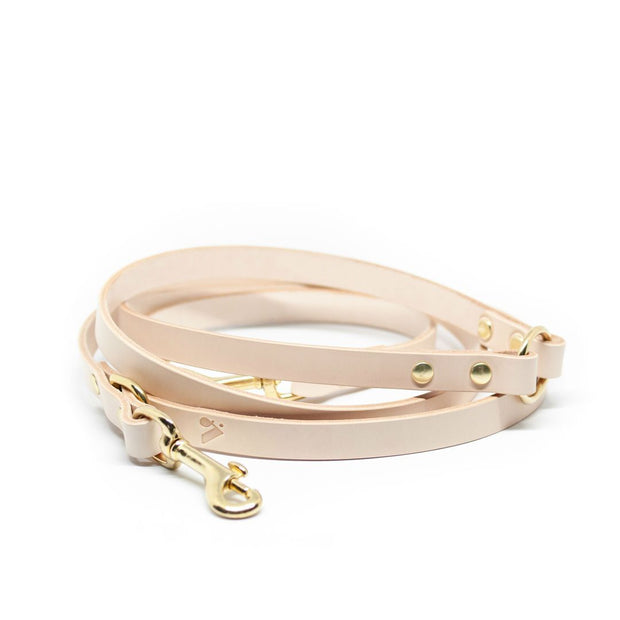 The Essential 5-in-1 Leather Leash in Nude - This Dog's Life