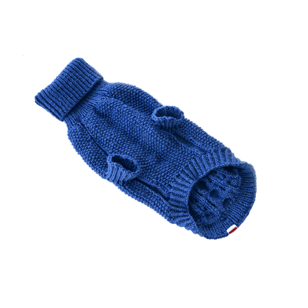 Hand-Knit Wool Dog Sweater in Cobalt