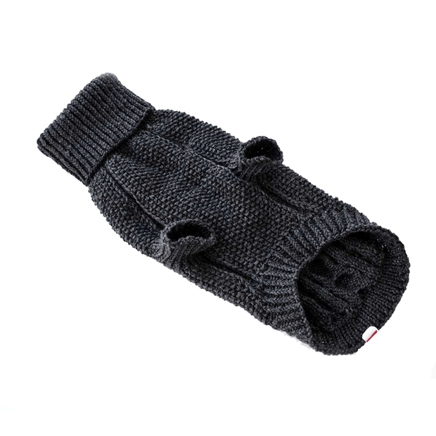 Hand-Knit Wool Dog Sweater in Noir