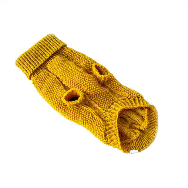 Hand-Knit Wool Dog Sweater in Marigold - This Dog's Life