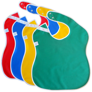 Large Waterproof Bibs for Toddlers (red, blue, yellow, green)
