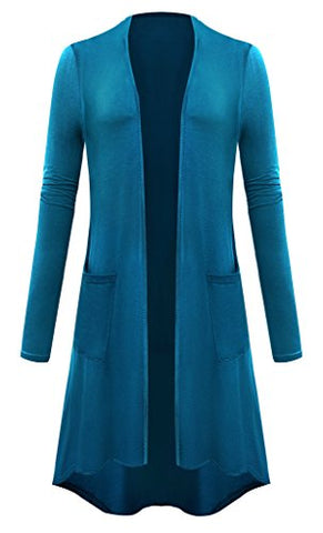 Women Plus Size Open Front Lightweight High Low Drape Cardigan with Pockets Small Teal Blue