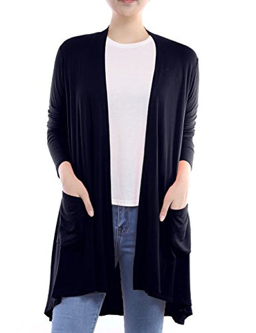 BIADANI Women Long Sleeve Classic Lightweight Front Pockets Cardigan Navy XX-Large