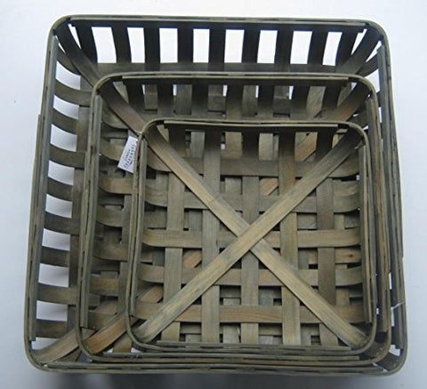 FARMHOUSE & FAMILY 3 pc Set Tobacco Baskets