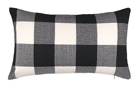 12 x 20 Inch Black and White Buffalo Check Plaids Lumbar Throw Pillow Case Cushion Cover Retro Farmhouse Decoration for Couch Sofa Bed