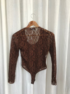 Brown Lace Thong Bodysuit