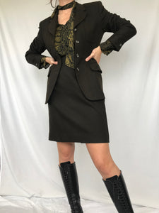 The Chocolate Wool Skirt Suit