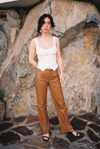 The Coffee Caramel Leather Pants