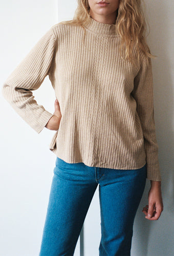 Oatmeal Rib Cotton Sweater