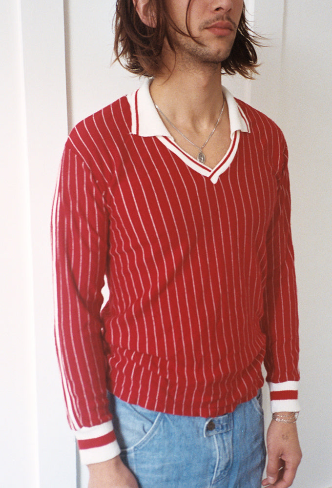 Red Stripe Polo V-Neck