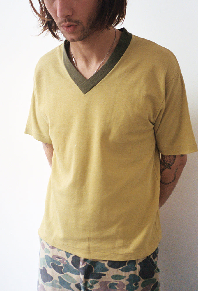 Chartreuse Pique Cotton V-Neck