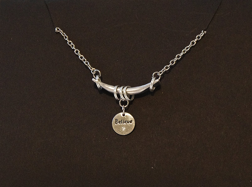 Bar & Charm Necklace - Believe (Circle)