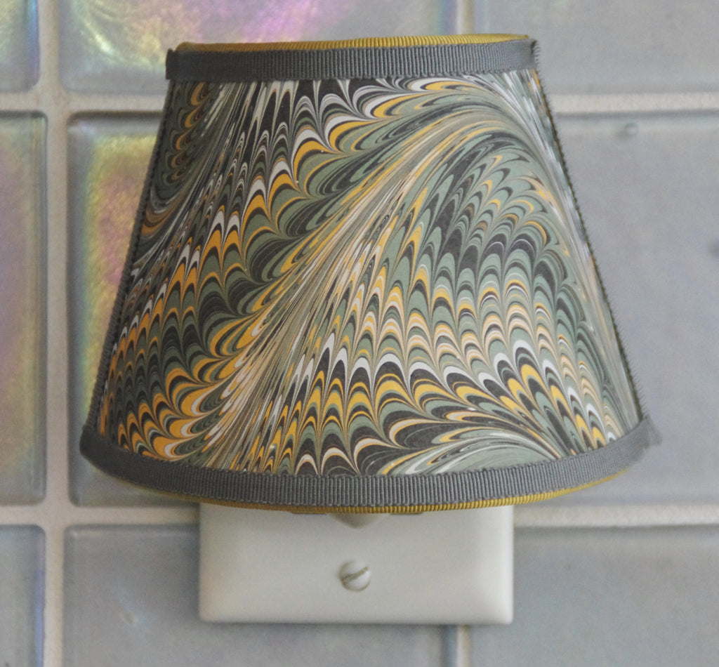 Marbled Paper Nightlight - Green, Blue and Yellow Tones
