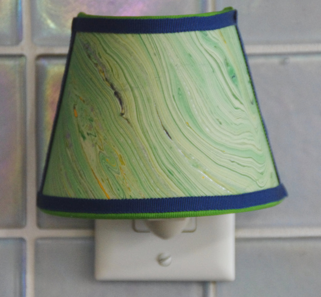 Marbled Paper Nightlight - Green and Blue Tones