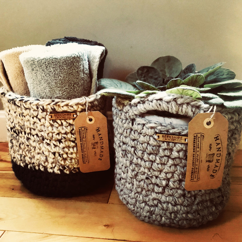 Handcrafted Crochet Basket - with Handles