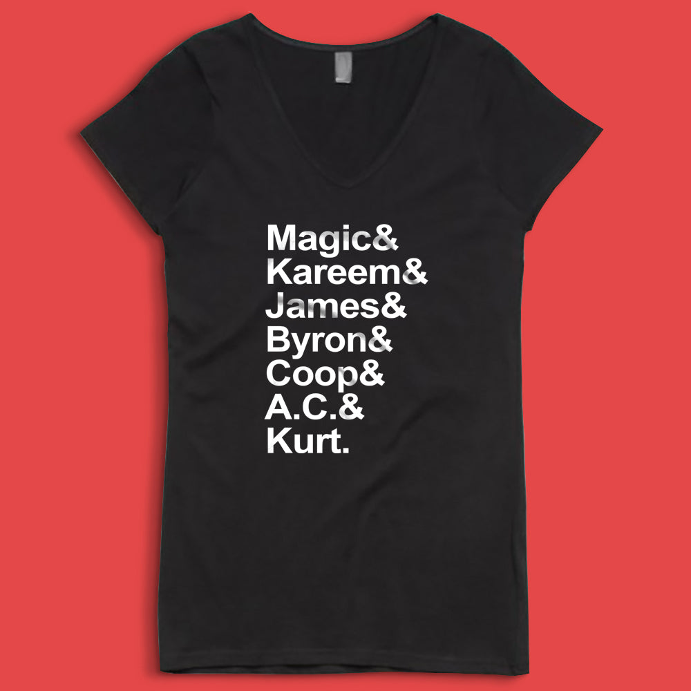1987 Magic And Kareem And James And Byron And Coop And Ac And Kurt Women'S V Neck