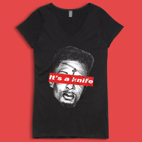 21 Savage Its A Knife Face Women'S V Neck