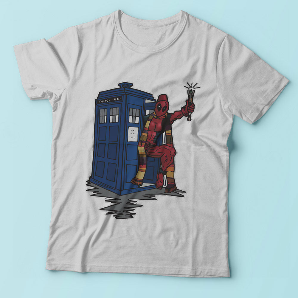 Deadpool Has The Tardis Deadpool And Doctor Who Men'S T Shirt