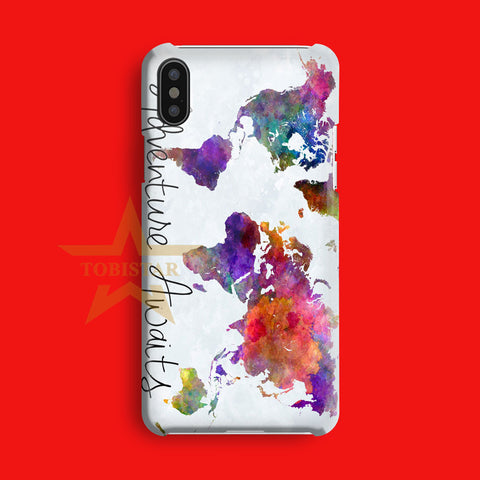 Adventure Awaits Maps Logo iPhone X Case