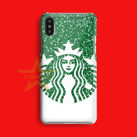 Starbuck Green Glitter Coffee Logo iPhone X Case