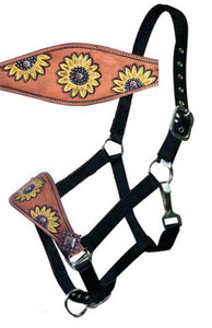 Leather bronc halter with hand painted sunflower design.