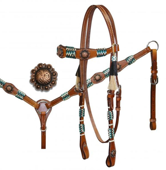 Teal/Brown Braided Rawhide & Antique Conchos HS/BC Set