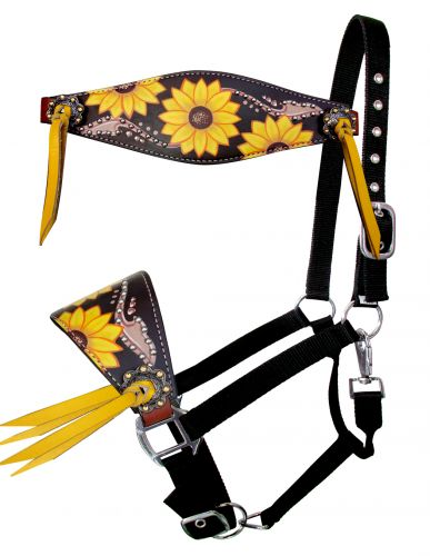 Showman Bronc Nose Halter W/ Sunflower And Brown Accents Overlay And Yellow Leather  Tassels