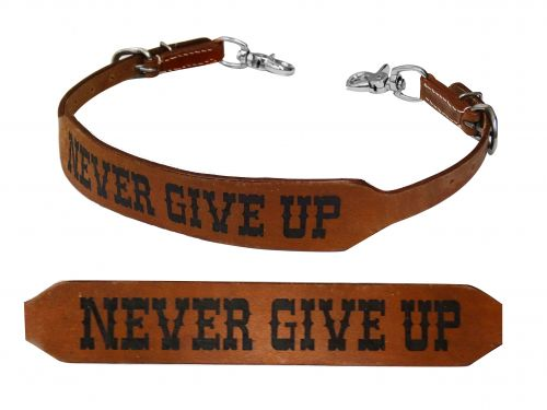 Leather wither strap Never Give Up