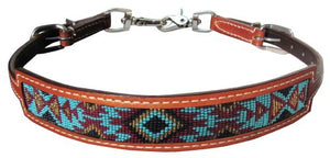 Leather wither strap Navajo design inlay