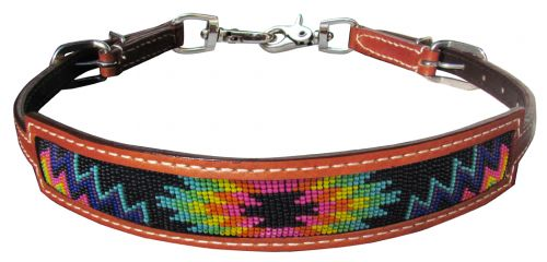 Medium leather wither strap with rainbow navajo design inlay