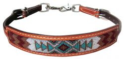 Medium leather wither strap with navajo design inlay