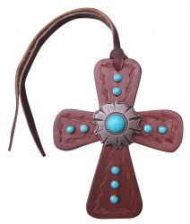 Leather Tie On Cross with Turquoise Stone Concho.